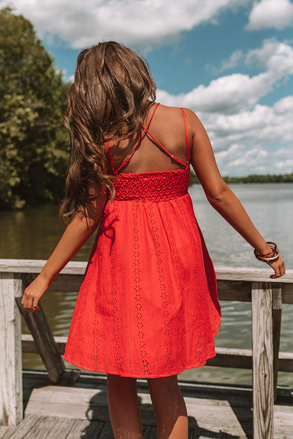 Setting Sail To Santorini Eyelet Dress In Red
