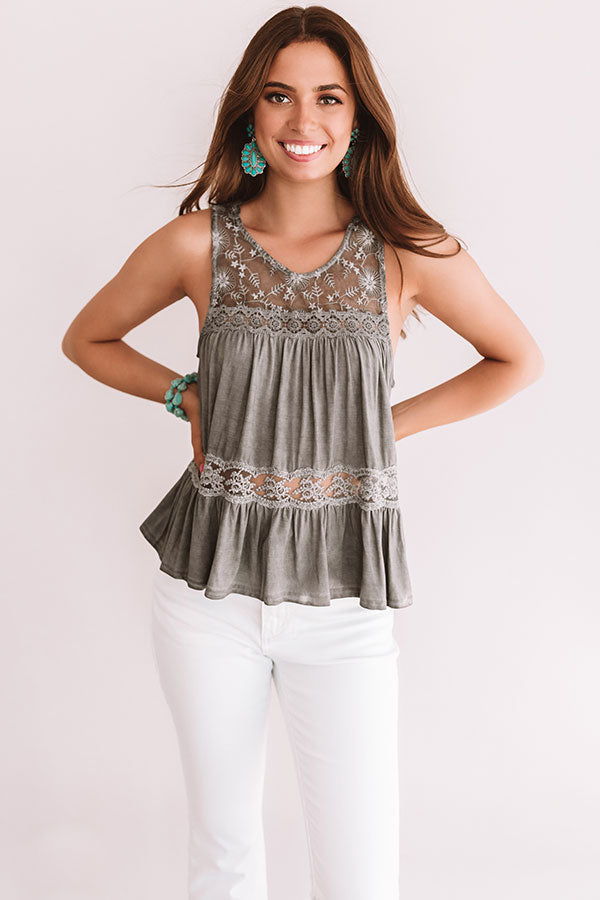 The Best Time Crochet Tank In Charcoal