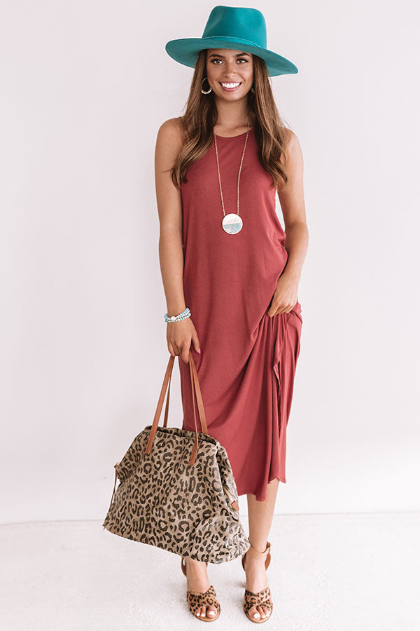 Coasts And Cocktails T-Shirt Midi In Rustic Rose