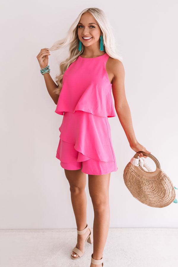 First Class At Fashion Week Tiered Romper In Hot Pink
