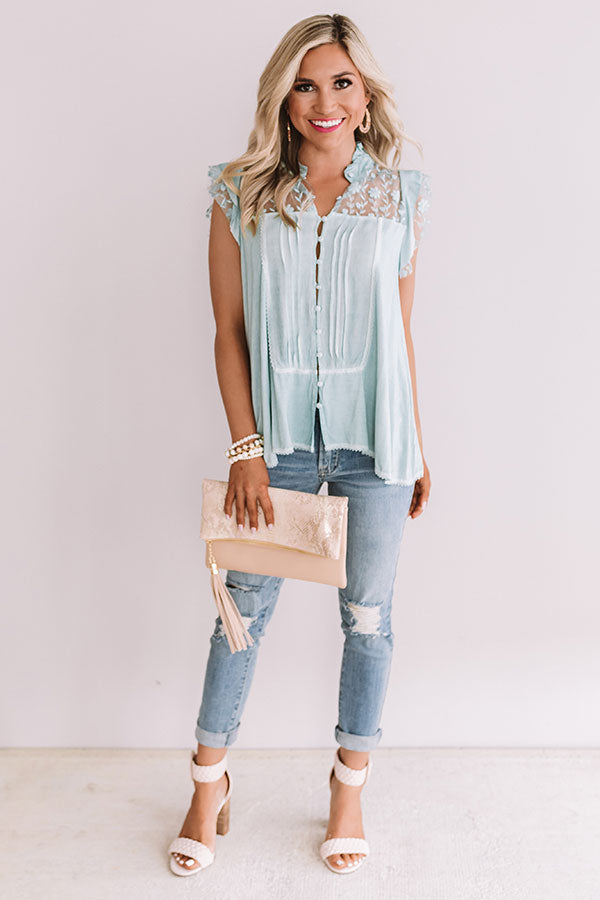 Grand Turks Time Button Up Top In Aqua
