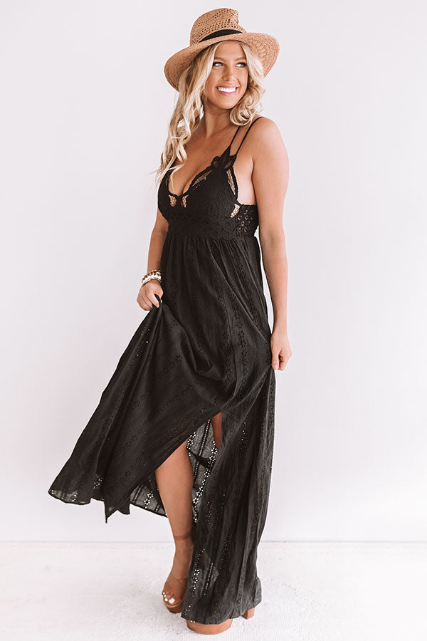Setting Sail To Santorini Eyelet Maxi In Black