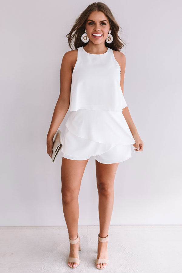 First Class At Fashion Week Tiered Romper In White