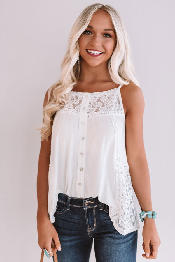 Sips And Smiles Crochet Tank