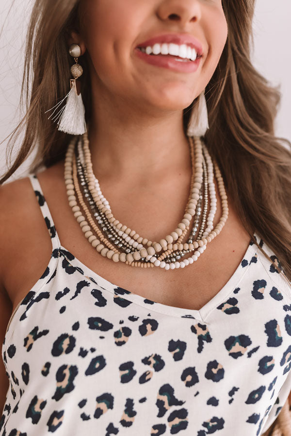 Sun, Sea, And Sand Layered Necklace In Khaki