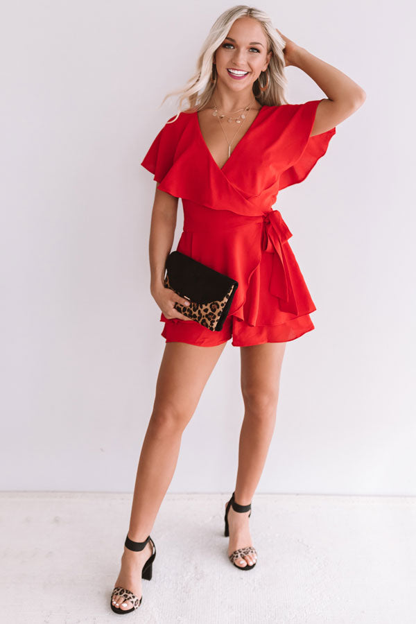 All The Goals Wrap Romper In Red