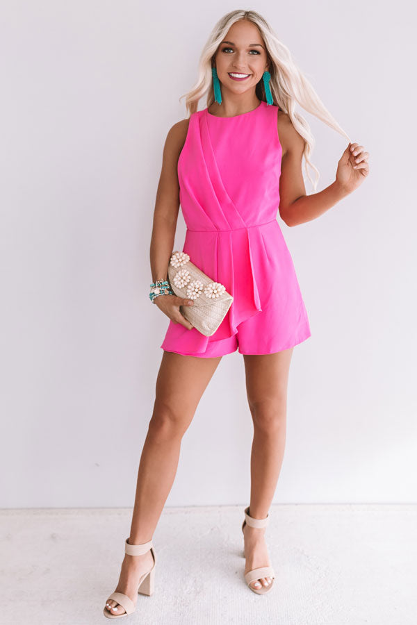 Casual Elegance Romper In Hot Pink