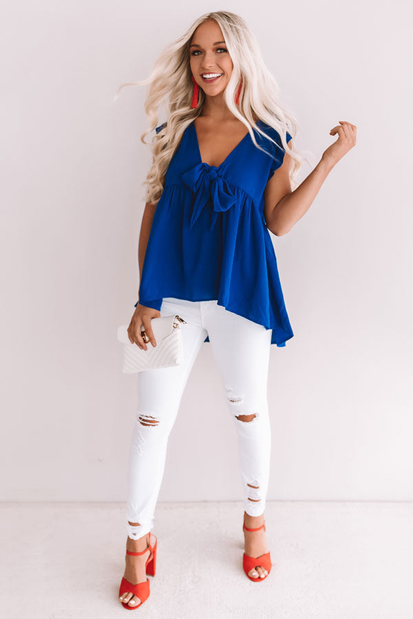 Knot Quite Yours Babydoll Top In Royal Blue