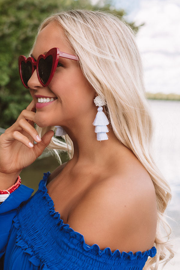 Tranquil Paradise Tassel Earrings In White