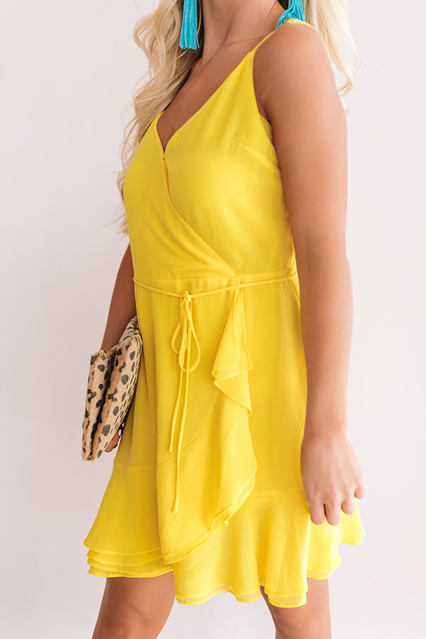 Jetsetter Chic Ruffle Dress In Yellow