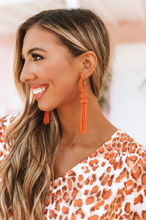 Forever Malibu Beaded Earrings In Orange
