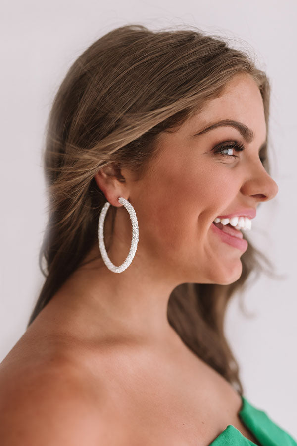 Red Carpet Runway Hoop Earrings In Silver
