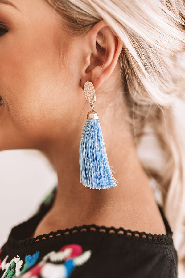Cabana Fever Tassel Earrings In Sky Blue