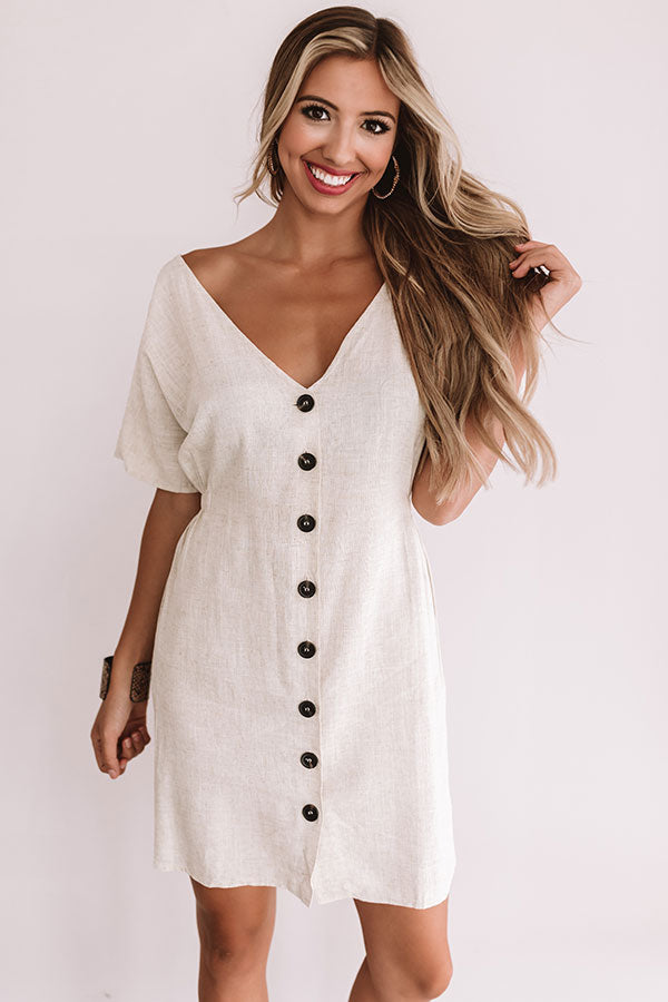 Capri Kisses Button Up Dress In Birch