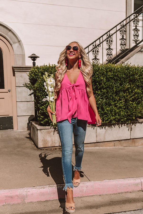 Knot Quite Yours Babydoll Top In Hot Pink
