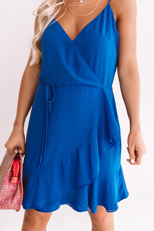 Jetsetter Chic Ruffle Dress In Royal Blue