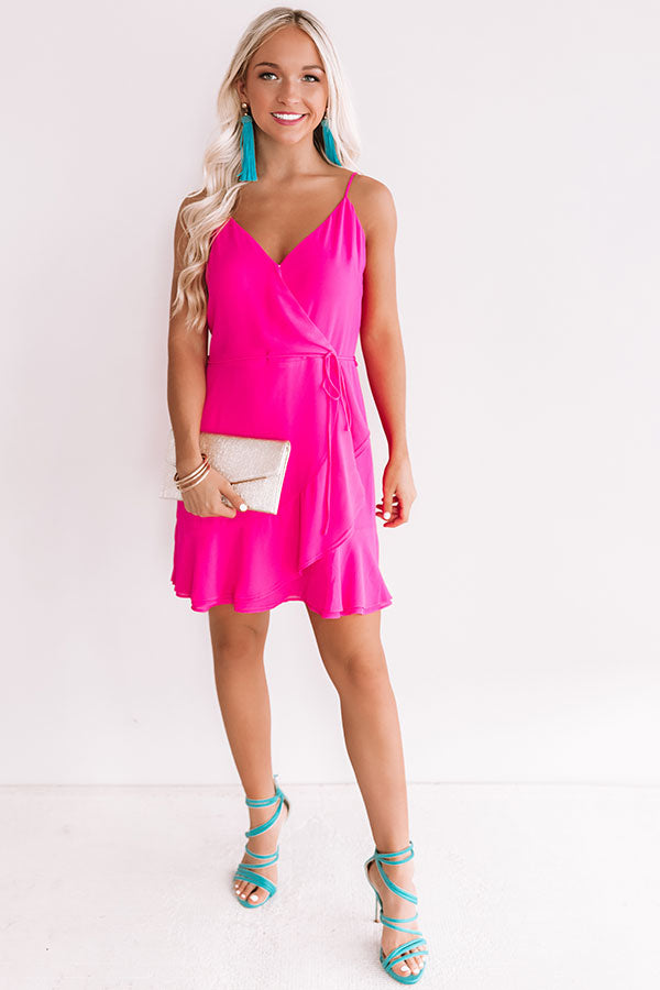 Jetsetter Chic Ruffle Dress In Hot Pink