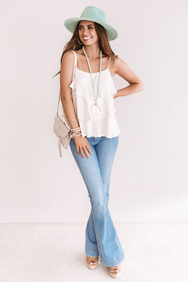 Effortless Style Ruffle Tank In Cream