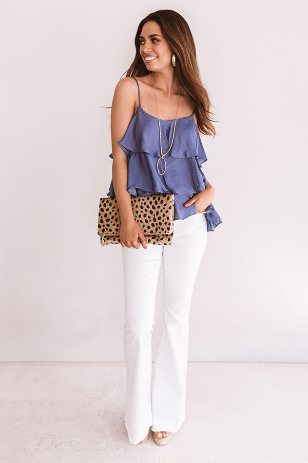 Effortless Style Ruffle Tank In Periwinkle