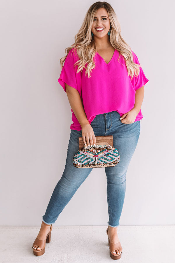Vistas And Vino Shift Top in Hot Pink