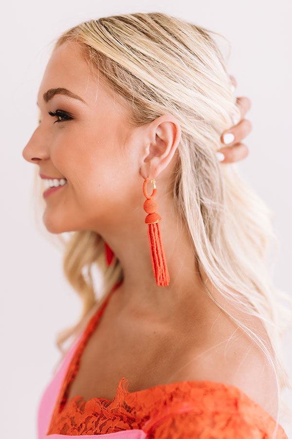 Prettier In Paradise Beaded Earrings In Tangerine
