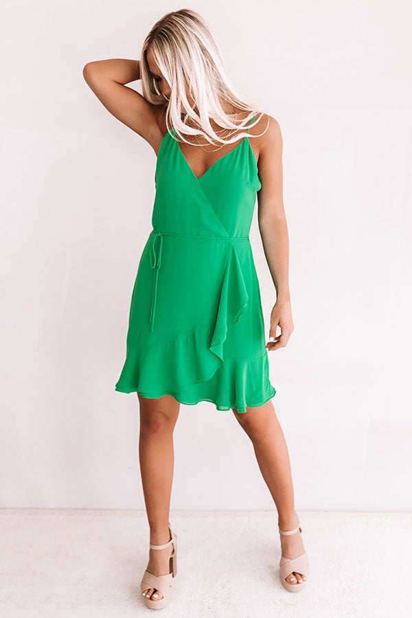 Jetsetter Chic Ruffle Dress In Kelly Green