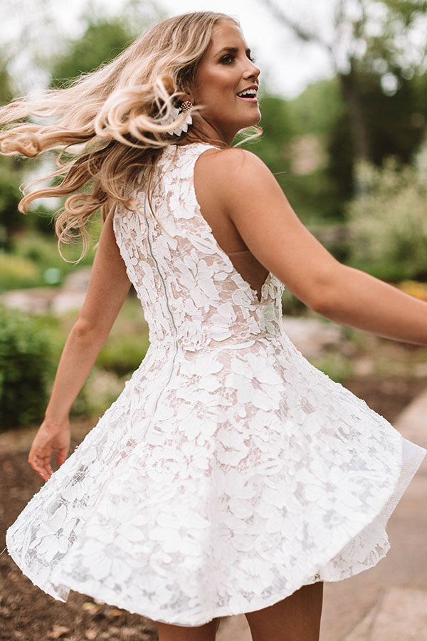 Last Dance Lace Fit & Flare Dress in Ivory