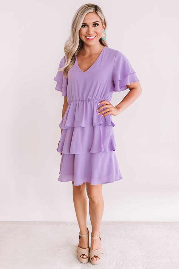First Flight To London Tier Dress In Lavender