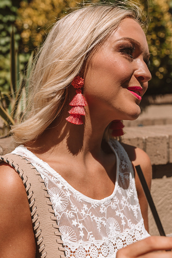 Tranquil Paradise Tassel Earrings In Coral