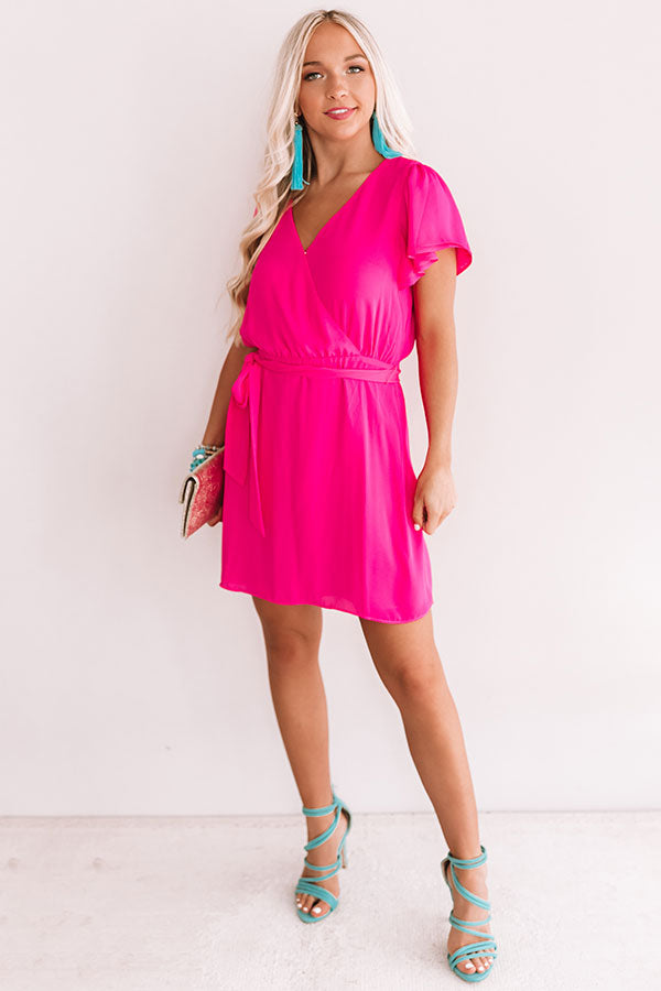 Venture To The Venue Dress In Hot Pink
