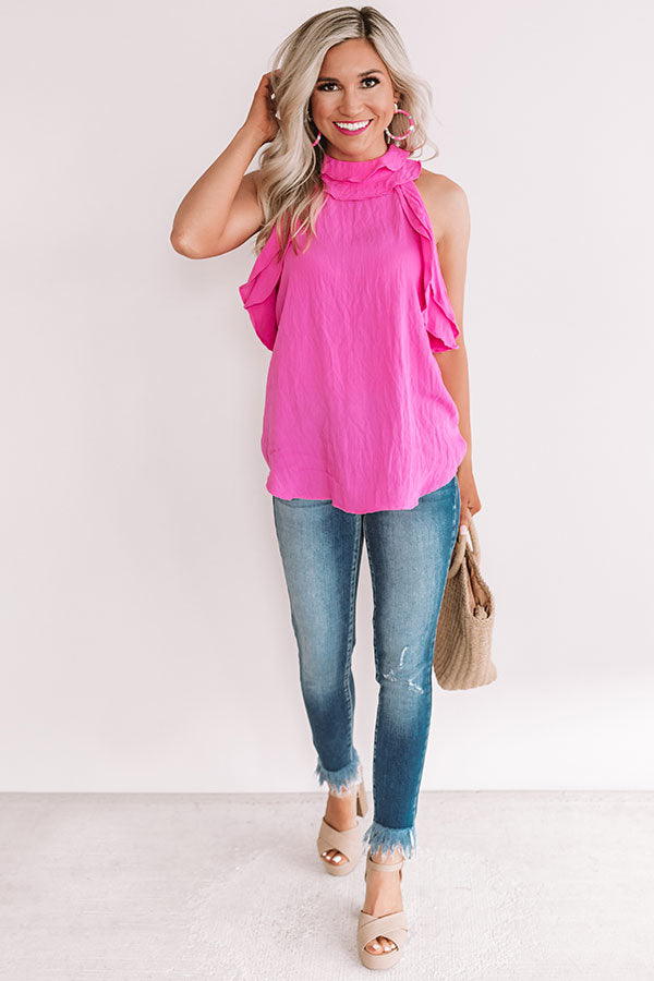 Eyes On You Ruffle Tank In Hot Pink