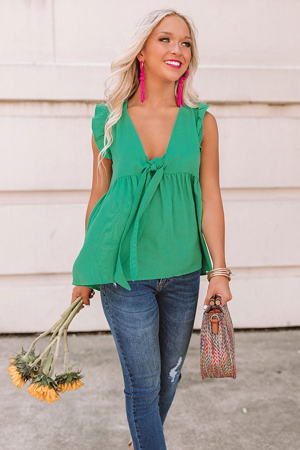 Knot Quite Yours Babydoll Top In Green