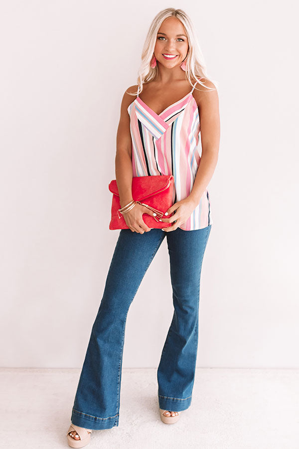 Walk The Line Stripe Shift Tank in Pink