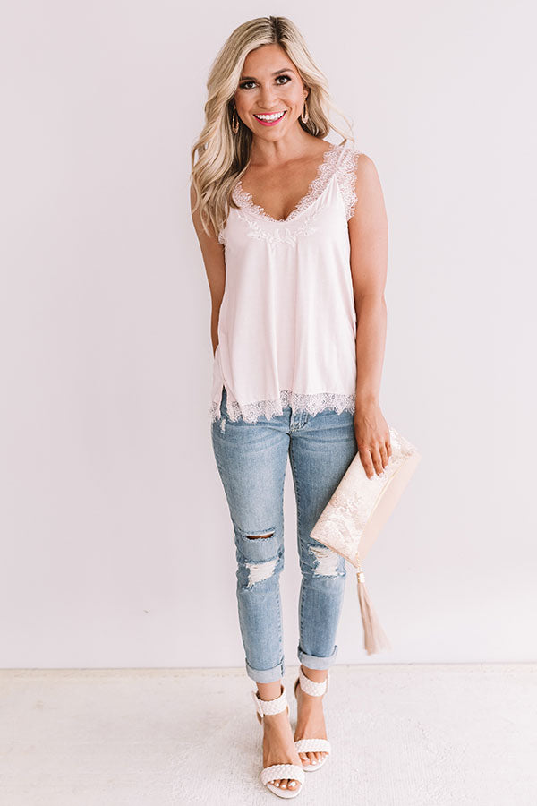 Pop The Pinot Lace Tank In Light Pink