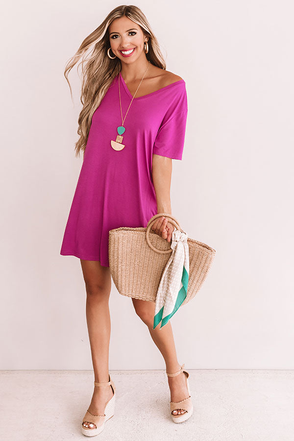 Sittin On The Dock T-Shirt Dress In Violet