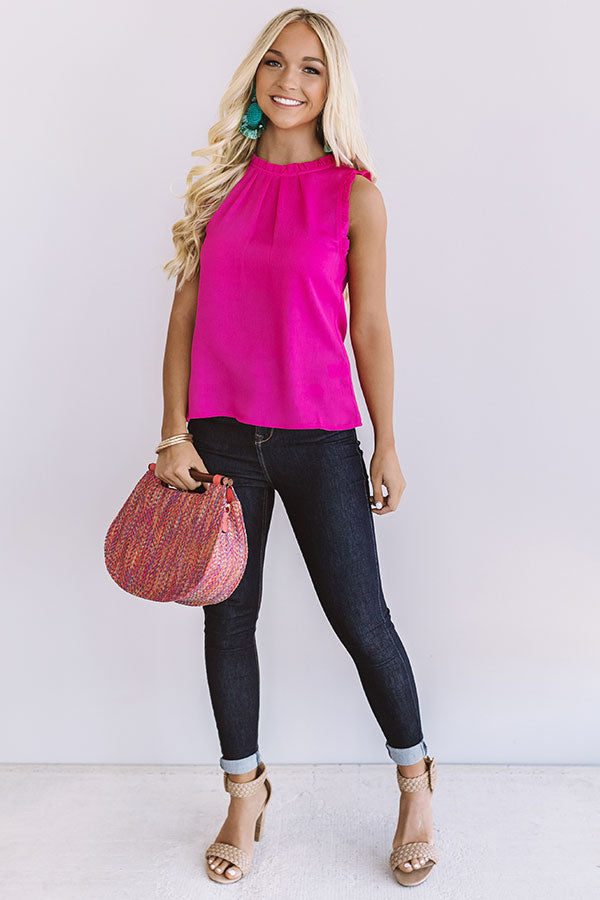 Cocktail Ready Shift Top In Hot Pink