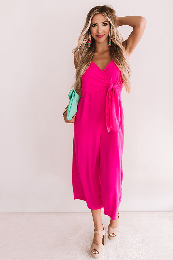 Rooftops And Romance Jumpsuit In Hot Pink