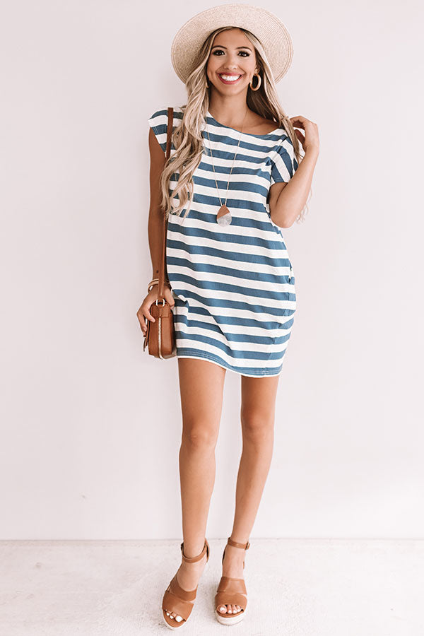 Stripes And Sails Shift Dress In Blue