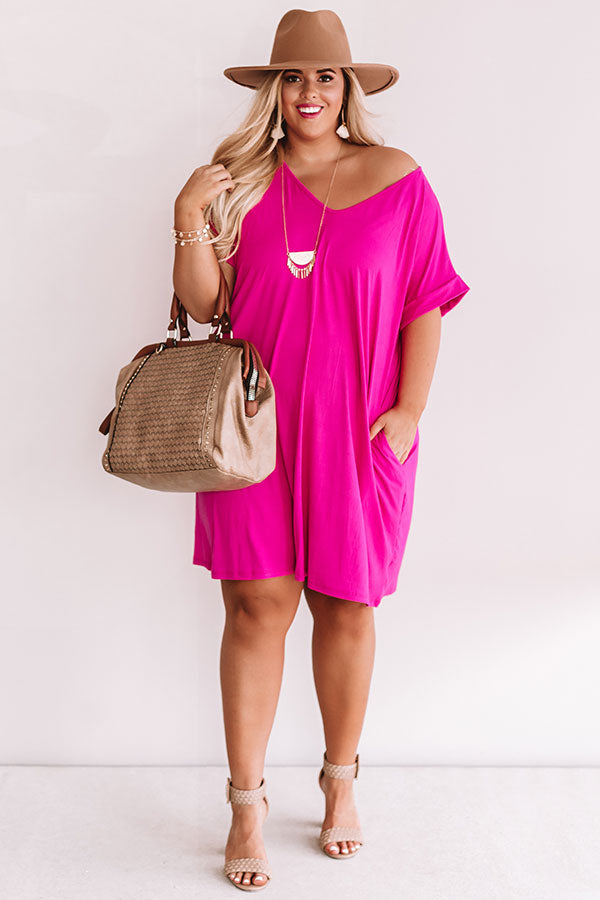 Back To Basics Shift Dress In Hot Pink