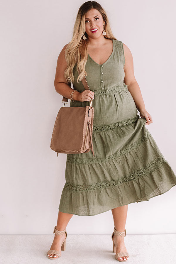 Styled So Pretty Crochet Midi In Olive