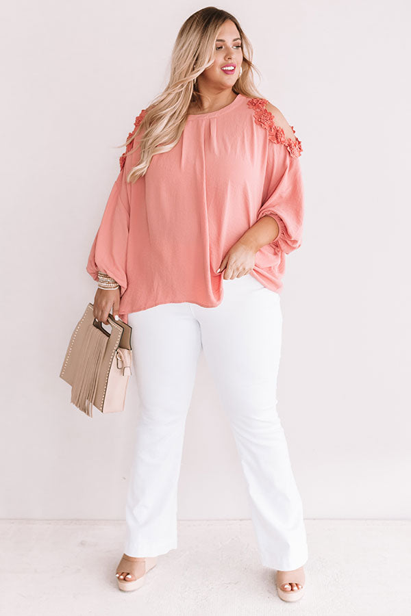 Sips And Sweets Shift Top In Coral