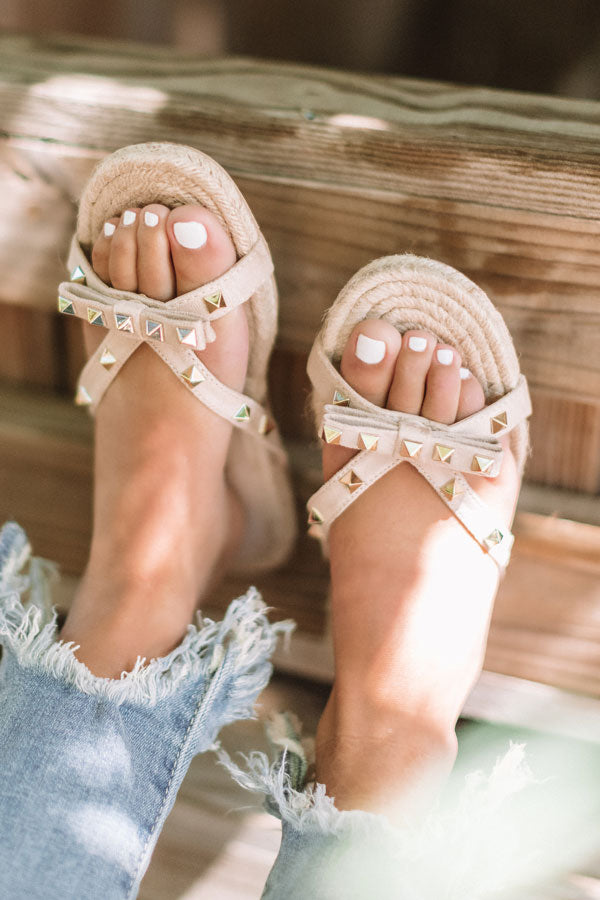 The Tessa Studded Sandal in Iced Latte