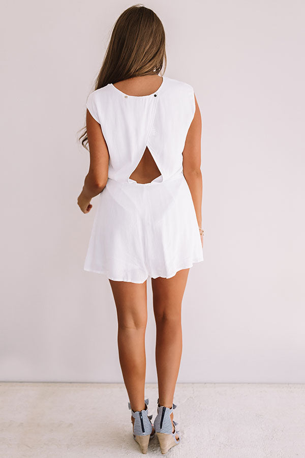 Sweet Sensation Front Tie Romper In White