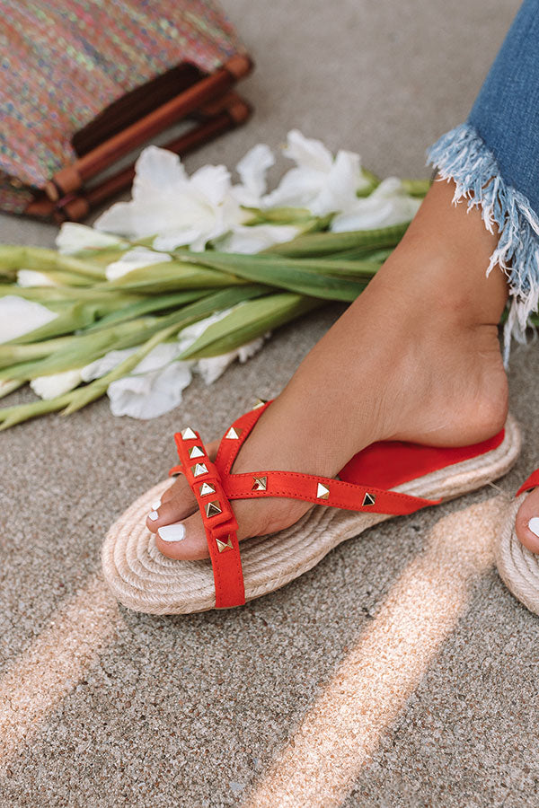 The Tessa Studded Sandal in Tangerine