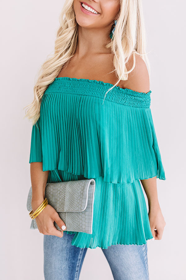 Pass The Sangria Pleated Top In Jade
