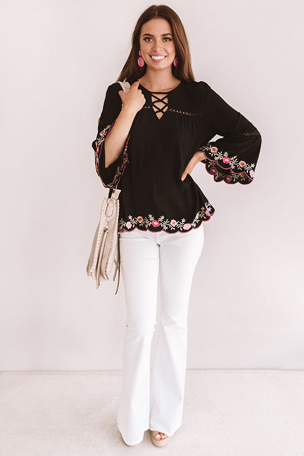 Sweet Paradise Embroidered Top In Black