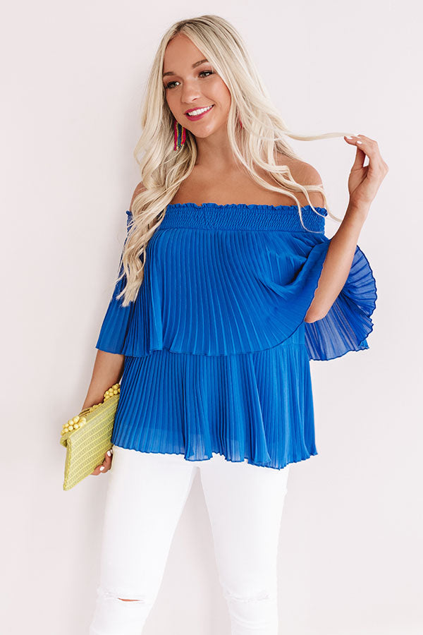Pass The Sangria Pleated Top In Royal Blue