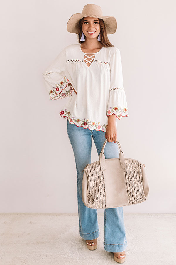 Sweet Paradise Embroidered Top In Birch