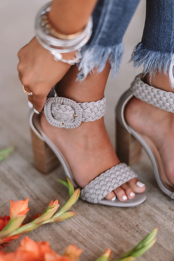 The Jess Faux Leather Heel in Grey
