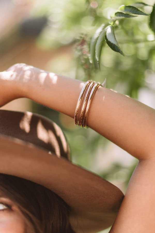 All That Glitter Jelly Bangle Set in Rose Gold